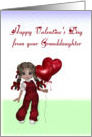 Valentine from Granddaughter, girl with balloons card