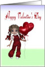 Happy Valentine's Day little girl with balloons card