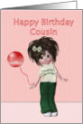 Happy Birthday to cousin, girl with balloon card