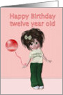Happy Birthday to twelve year old, girl with balloon card