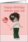 Happy Birthday to eleven year old, girl with balloon card