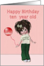 Happy Birthday to ten year old, girl with balloon card