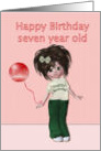 Happy Birthday to seven year old, girl with balloon card