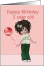 Happy Birthday to five year old, girl with balloon card