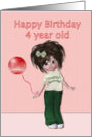 Happy Birthday to four year old, girl with balloon card