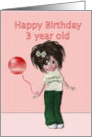 Happy Birthday to three year old, girl with balloon card