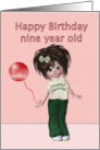 Happy Birthday to nine year old, girl with balloon card