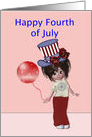 Happy Fourth of July, girl with balloon card