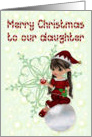 Merry Christmas to our daughter, little girl elf card