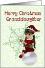Merry Christmas granddaughter, little girl elf card