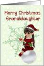Merry Christmas granddaughter, little girl elf card