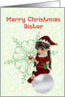 Merry Christmas Sister, little girl elf card