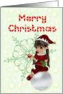 Merry Christmas, little girl elf card