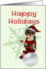 Happy Holidays, little girl elf card