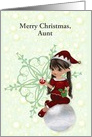 Merry Christmas to Aunt, cusomizable, little girl elf card