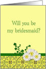 Bridesmaid request with daisies card