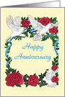 Rose and Doves Romantic Happy Anniversary card