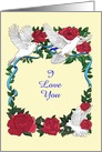 Rose and Doves I Love You Romantic Customizable card