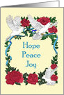Hope Peace Joy Doves and Roses Christmas card