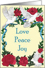 Love Peace Joy Doves and Roses blank inside card