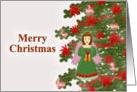 Merry Christmas, Angel Ornament on Tree card