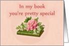 Happy Birthday, vintage book jasmine and peony card