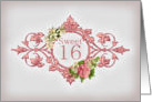 Sweet Sixteen Party Invitation, vintage jasmine and pink peony card