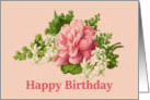Happy Birthday, Vintage Peony and Jasmine card