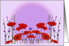 Red Poppies and Purple Bachelor Buttons Any Occasion Blank card
