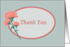 Thank you, Coral Colored Carnation card