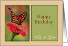 Happy Birthday with Photograph of Monarch Butterfly card