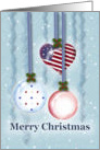 Americana, Red White and Blue Christmas Ornaments and Ribbons card