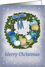 Merry Christmas, Purple, Blue, Gold and Pearl card