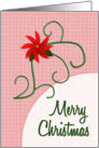 Merry Christmas, Poinsettia on Plaid Background, Modern card
