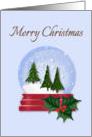Christmas Snow Globe with Trees Inside card