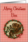 Merry Christmas Boss, Vintage Saint Bernard with Holly Branch card