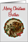 Merry Christmas Brother, Vintage Saint Bernard with Holly Branch card