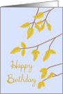 Happy Birthday, Gold Autumn Leaves card