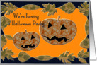 Halloween Party Invitation, jack o lanterns and leaves card