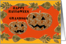 Happy Halloween Grandson, jack o lanterns and leaves card