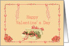 Happy Valentine's Day victorian style pink and peach card