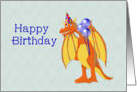 Happy Birthday, cute cartoon dragon, juvenile card
