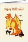 Happy Halloween, winged dragon with mask and jack-o-lantern card