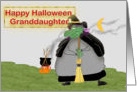 Happy Halloween Granddaughter, green witch card