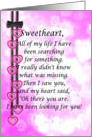 Sweetheart, pink hearts, black ribbon and bow card