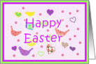Happy Easter, birds hearts and flowers,purple and green borders card