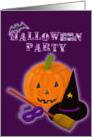 Halloween Party Invitation, Purple Orange and Black card