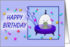 Happy Birthday, cartoon flying saucer/UFO card