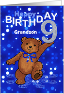 9th Birthday Dancing Teddy Bear for Grandson card