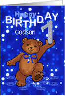 1st Birthday Dancing Teddy Bear for Godson card